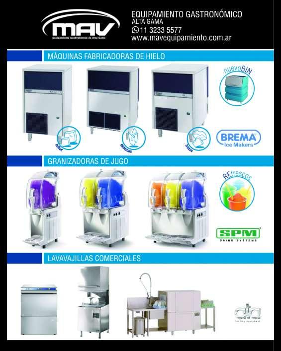Mav máquinas de hielo brema, hornos pizzeros italforni, granizadoras de jugo, lavavajillas